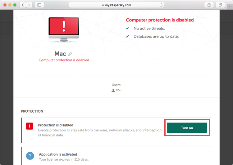 Device management section in My Kaspersky