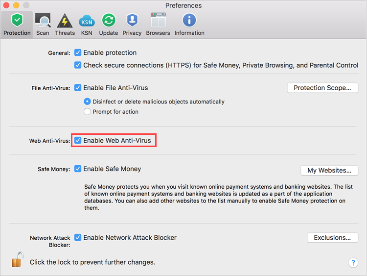 Enabling Web Anti-Virus in Kaspersky Internet Security 19 for Mac
