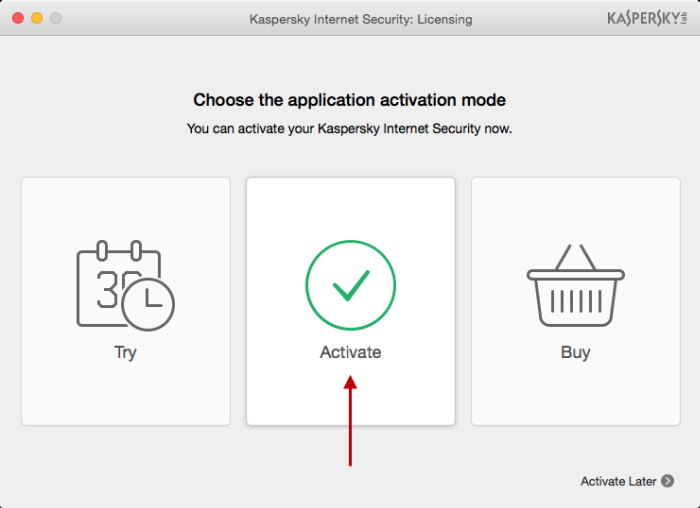 To use the full version of Kaspersky Internet Security 16 for Mac, click Activate