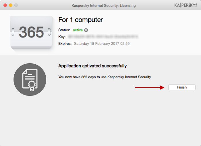Kaspersky Internet Security 16 for Mac has been activated. Update the databases and run the Scan task.