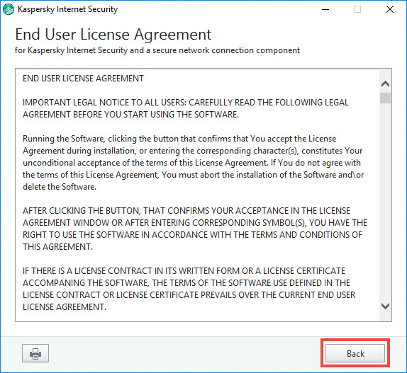 Image: the License Agreement window of Kaspersky Internet Security 2018