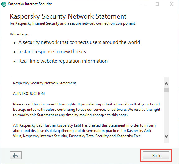 Image: reviewing the KSN agreement in Kaspersky Internet Security 2018