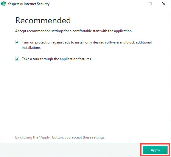 Image: the recommended settings window in Kaspersky Internet Security 2018