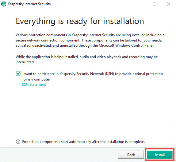 Image: the notification on installing additional components in Kaspersky Internet Security 2018.