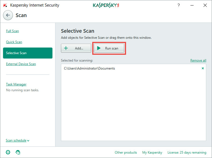 Image: scan window in Kaspersky Internet Security 2018
