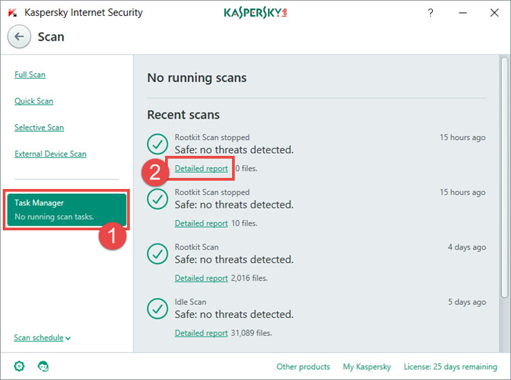 Image: the scan report window in Kaspersky Internet Security 2018