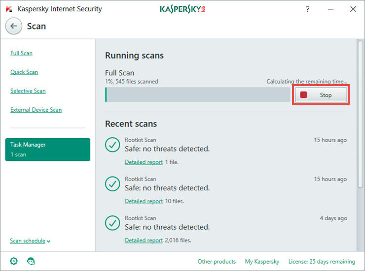 Image: stopping the scan task in Kaspersky Internet Security 2018