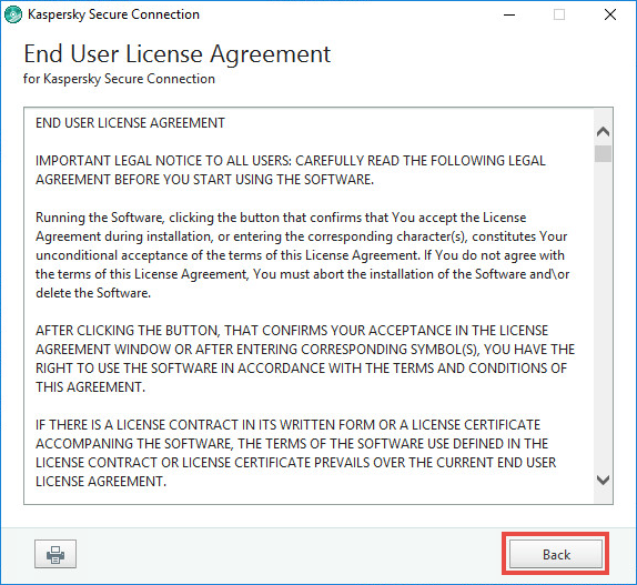 Image: the Kaspersky Secure Connection License agreement window