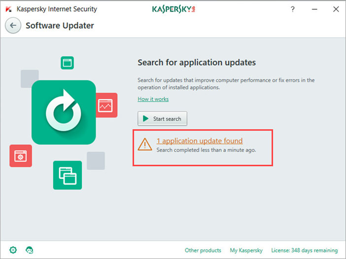 Image: updates search results in Kaspersky Internet Security 2018