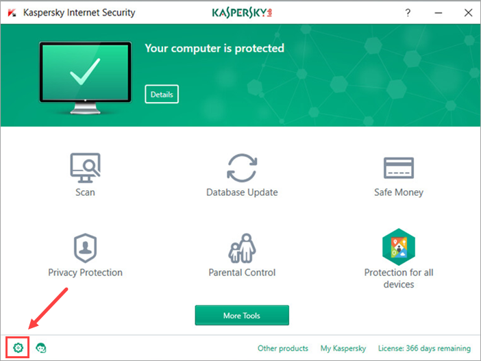 Image: Kaspersky Internet Security 2018 main window