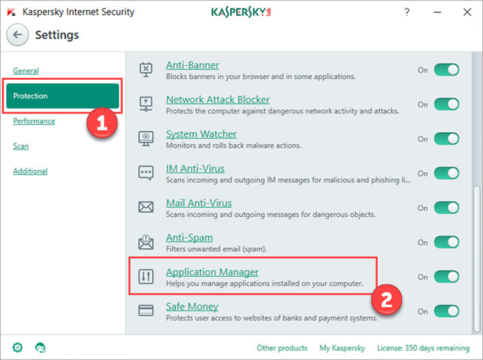 Image: Kaspersky Internet Security Settings window
