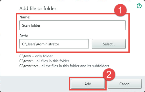 Image: adding a file or folder