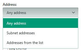 Image: setting the network address for the packet rule in Kaspersky Internet Security 2018
