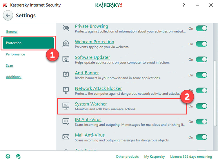 Image: Settings window Image: Settings icon in Kaspersky Internet Security window