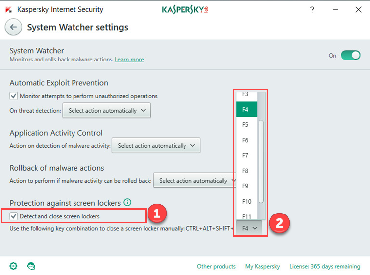 Image: the System Watcher window in Kaspersky Internet Security 2018