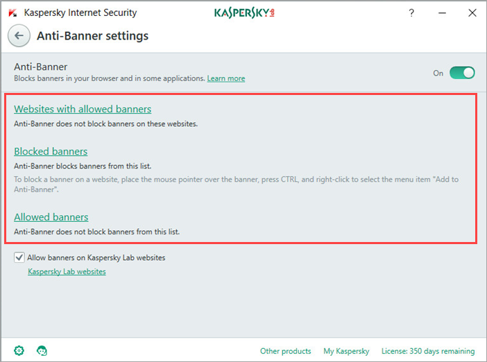 Image: the Anti-Banner settings in Kaspersky Internet Security