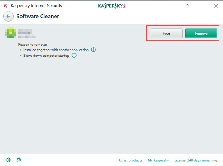 Image: the Software Cleaner window in Kaspersky Internet Security