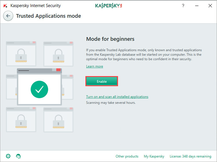 How to enable the Trusted Applications mode in Kaspersky