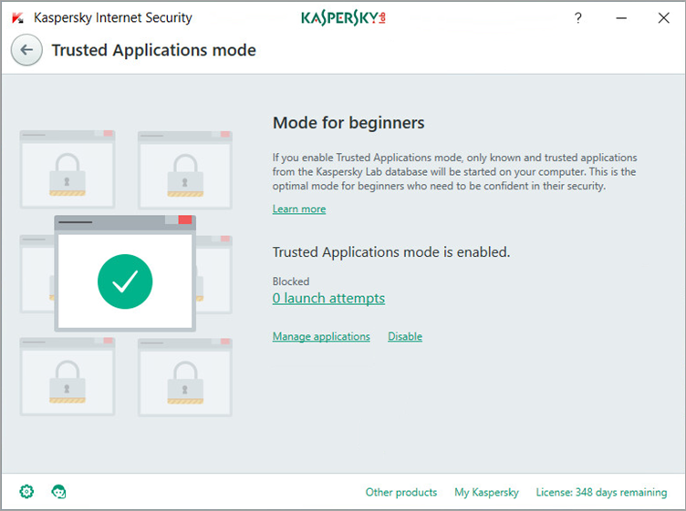 Image: the Trusted Applications mode window in Kaspersky Internet Security