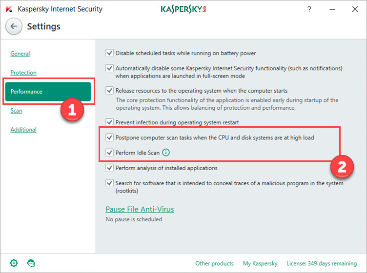 Image: configuring scan and update tasks in Kaspersky Internet Security