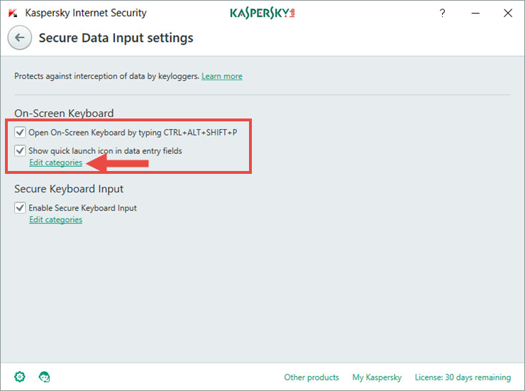 How to protect data entered from the keyboard in Kaspersky Internet