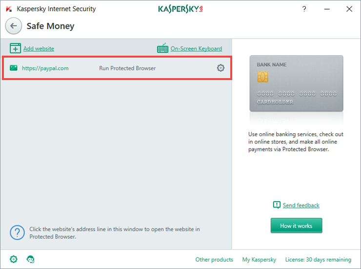 Image: the website added to Safe Money