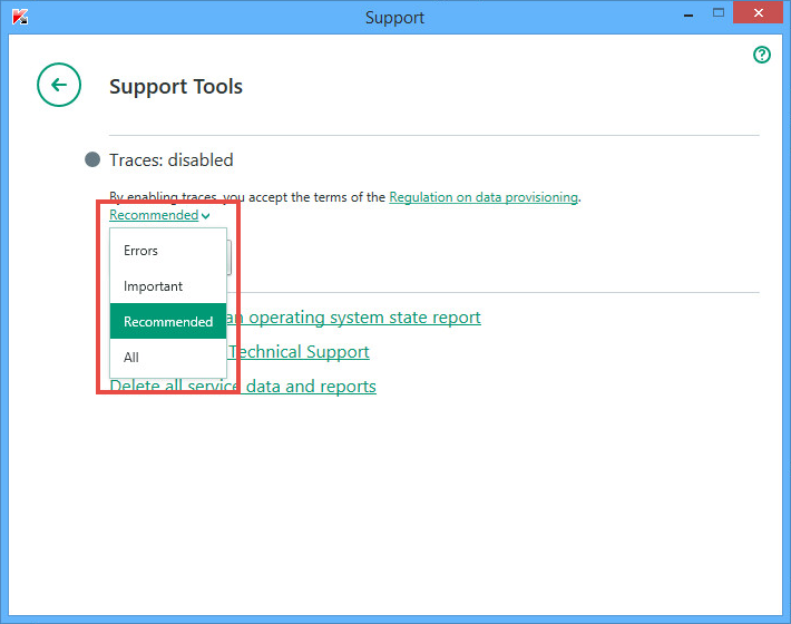 Image: the Kaspersky Internet Security 2018 support tools window