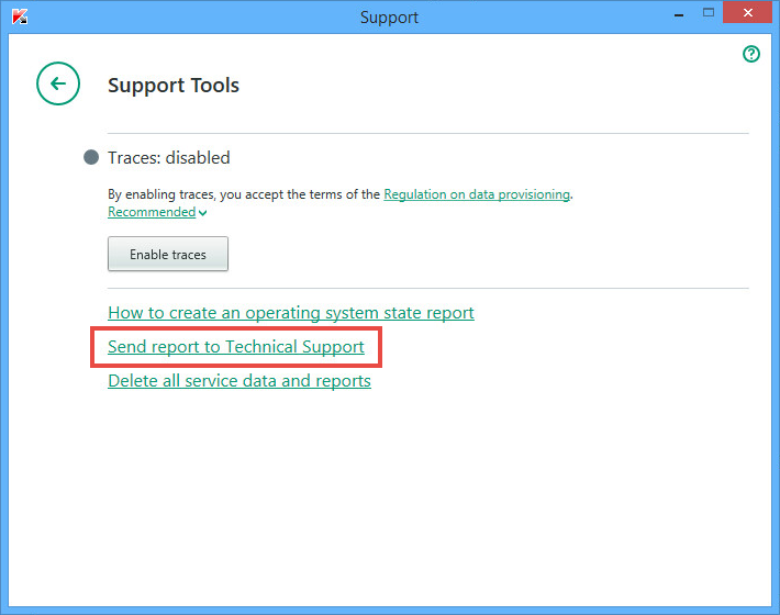 Image: the Support Tools window of Kaspersky Internet Security 2018