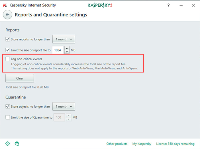 Image: the Reports and Quarantine settings window in Kaspersky Internet Security 2018