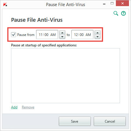 Image: Pause File Anti-Virus window of Kaspersky Total Security 2018
