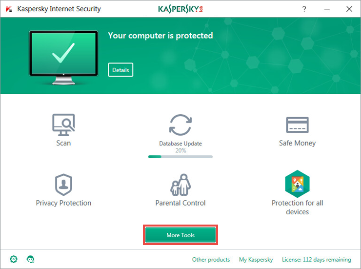 The main window of Kaspersky Internet Security 2018