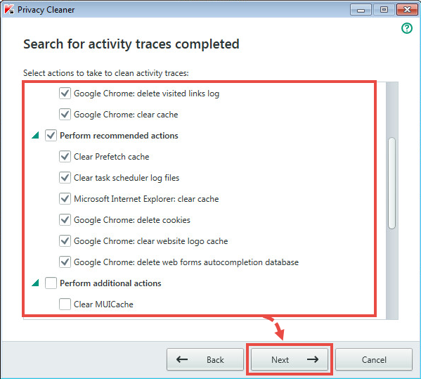 Image: Clean activity traces