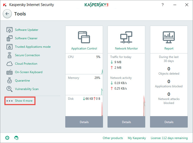 Image: the Tools window of Kaspersky Internet Security 2018