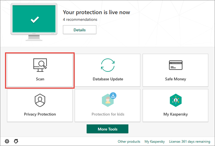 Opening the Scan section in Kaspersky Internet Security 20