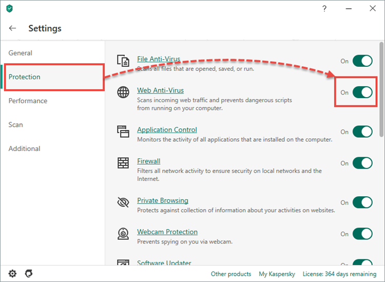 Enabling Web Anti-Virus in Kaspersky Internet Security 20