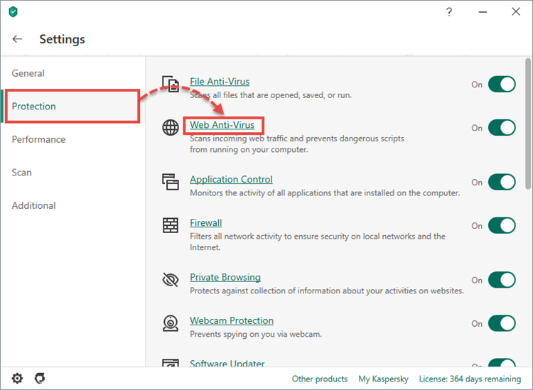 Opening the Web Anti-Virus settings in Kaspersky Internet Security 20