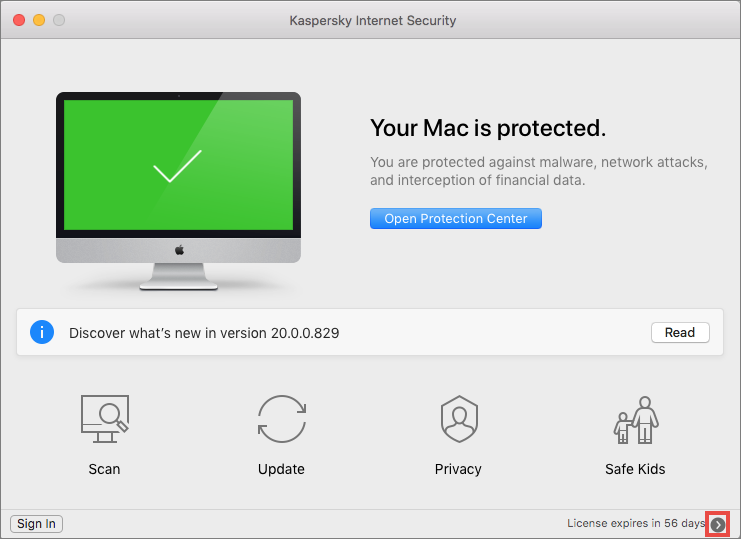 Applying the trial license to Kaspersky Internet Security 20 for Mac
