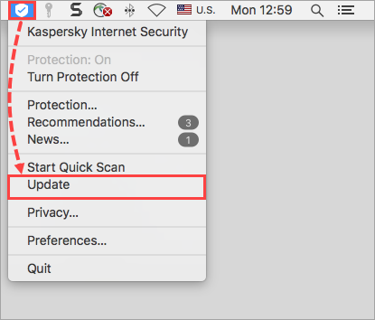 Going to the Kaspersky Internet Security for Mac database update via the shortcut menu