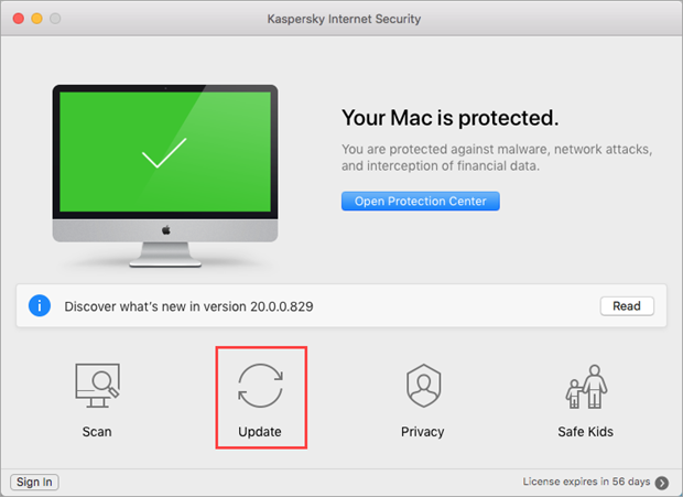 Updating databases in Kaspersky Internet Security 20 for Mac through the application menu