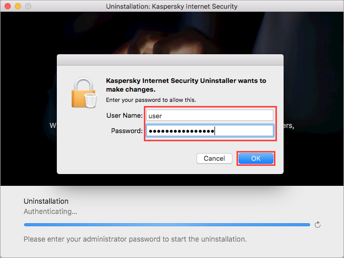 Entering the administrator account credentials when removing Kaspersky Internet Security 20 for Mac