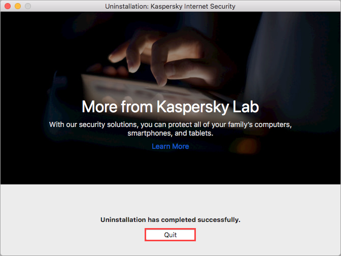 Completing uninstallation of Kaspersky Internet Security 20 for Mac