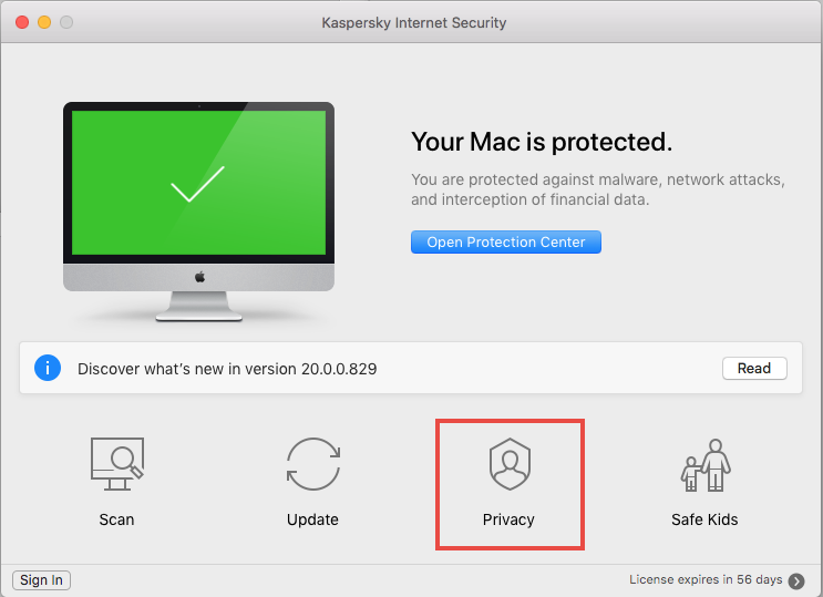 Privacy preferences in Kaspersky Internet Security 20 for Mac