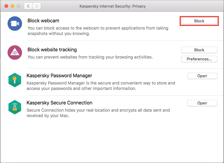 Blocking access to the video stream of web camera using Kaspersky Internet Security 20 for Mac