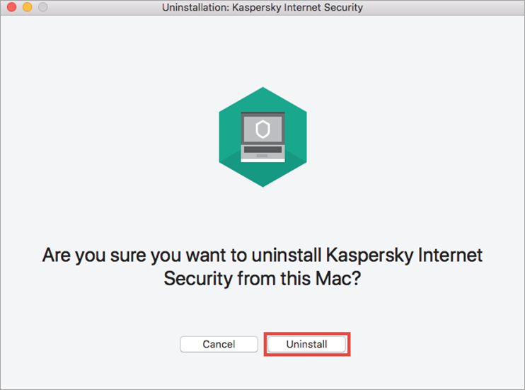 Confirming the removal of Kaspersky Internet Security for Mac