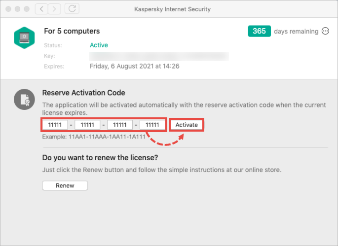 The Licensing window with the reserve activation code field highlighted.
