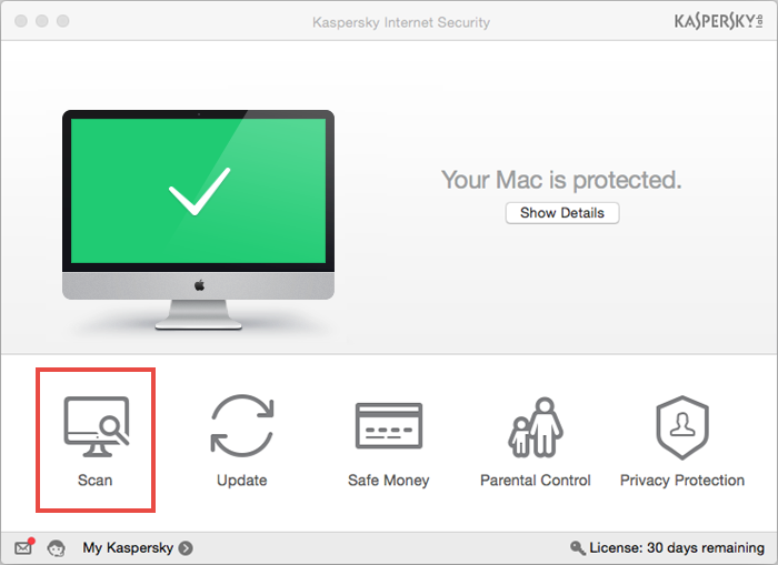 Image: how to run a scan task in Kaspersky Internet Security 16 for Mac