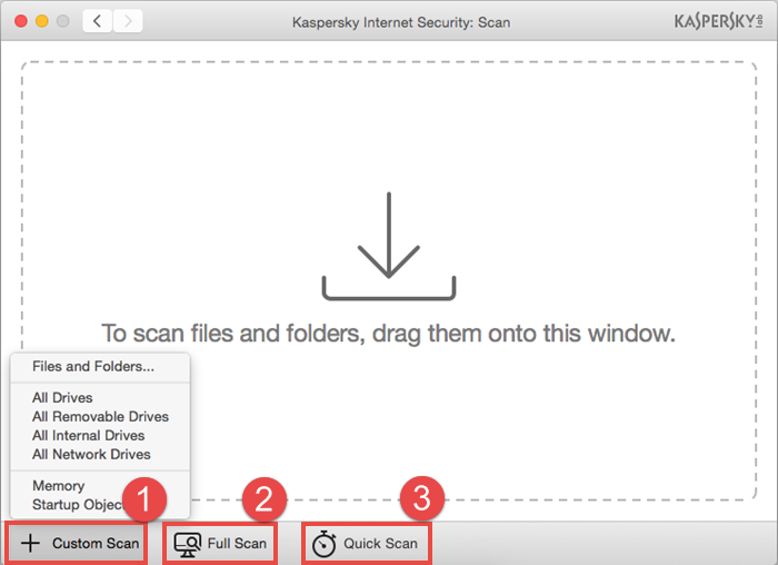 Image: selecting the type of scan in Kaspersky Internet Security 16 for Mac