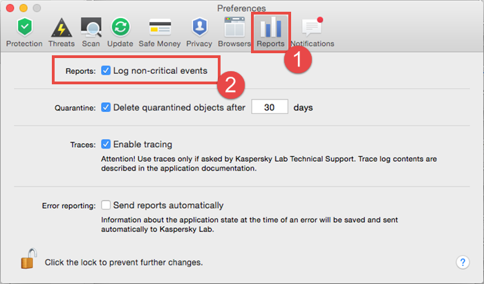 Image: enable logging of non-critical events in Kaspersky Internet Security 16 for Mac