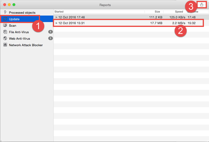 Image: exporting the report in Kaspersky Internet Security 16 for Mac