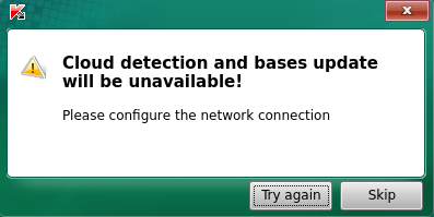 """Cloud detection and bases update will be unavailable"" notification in Kaspersky Rescue Disk 2018"